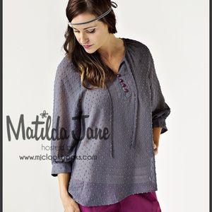 Matilda Jane Peasant Top Semi Sheer Button Gray XS